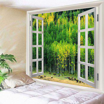 Window Forest Waterproof Wall Hanging Tapestry - GREEN W59 INCH * L51 INCH