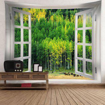 Window Forest Waterproof Wall Hanging Tapestry - GREEN W79 INCH * L59 INCH