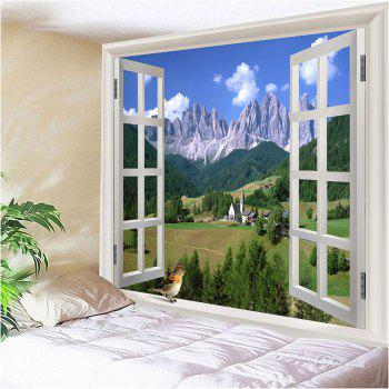 Window Landscape Waterproof Hanging Tapestry - GREEN W79 INCH * L59 INCH