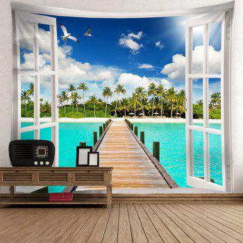 Coconut Trees Wooden Bridge Waterproof Hanging Tapestry - GREEN W71 INCH * L71 INCH
