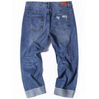 Wide Leg Destroyed Nine Minutes of Jeans - Denim Bleu 34