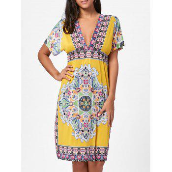 Aztec Print Plunge Backless Shift Dress - YELLOW ONE SIZE