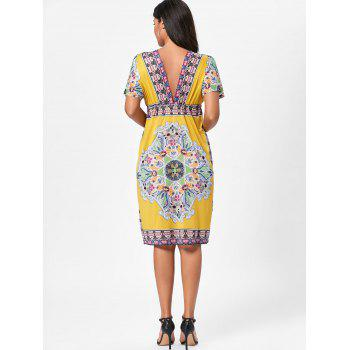 Aztec Print Plunge Backless Shift Dress - ONE SIZE ONE SIZE