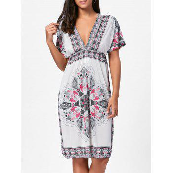 Aztec Print Plunge Backless Shift Dress - WHITE ONE SIZE