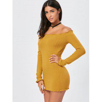 Off The Shoulder Mini Bodycon Sweater Dress - YELLOW L