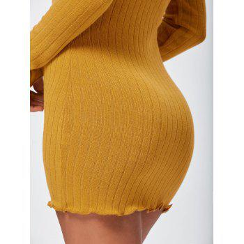 Off The Shoulder Mini Bodycon Sweater Dress - YELLOW M