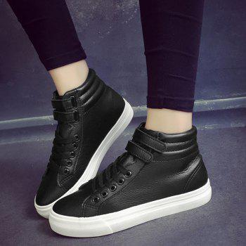 High Top Stitching Athletic Shoes - BLACK 37