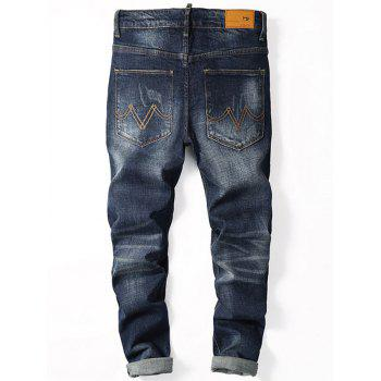 Straight Leg Zip Fly Cuffed Jeans - Denim Bleu 36