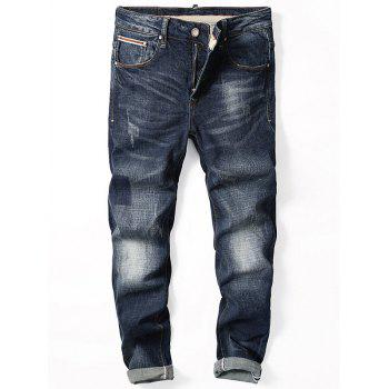 Straight Leg Zip Fly Cuffed Jeans - DENIM BLUE 36