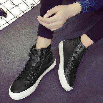 High Top Stitching Athletic Shoes - BLACK 39