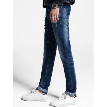 Zipper Fly Cuffed Jeans - 32 32