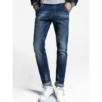 Zipper Fly Cuffed Jeans - DENIM BLUE 32