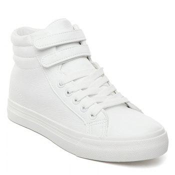 High Top Stitching Athletic Shoes - WHITE 40