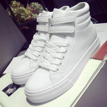 High Top Stitching Athletic Shoes - WHITE 38