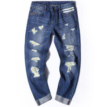 Distressed Cuffed Nine Minutes of Jeans - DENIM BLUE 34