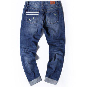Distressed Cuffed Nine Minutes of Jeans - 34 34