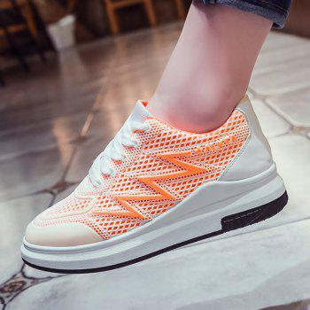 Breathable Faux Leather Panel Athletic Shoes - BRIGHT ORANGE 38
