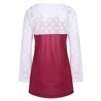 Lace Long Sleeve Ombre Print Top - Rouge L