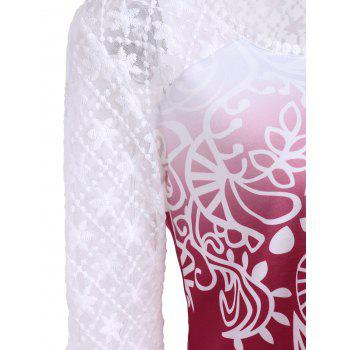 Lace Long Sleeve Ombre Print Top - Rouge 2XL
