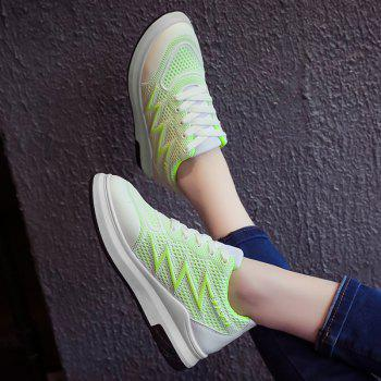 Breathable Faux Leather Panel Athletic Shoes - NEON GREEN 38