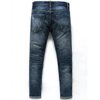 Cuffed Nine Minutes of Taper Fit Jeans - DEEP BLUE 34