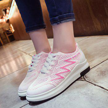 Breathable Faux Leather Panel Athletic Shoes - PINK 38