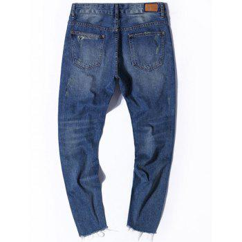 Ripped Zipper Fly Nine Minutes of Jeans - 34 34