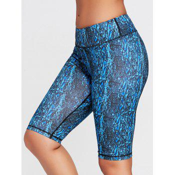 Abstract Printed Workout Shorts - BLUE BLUE