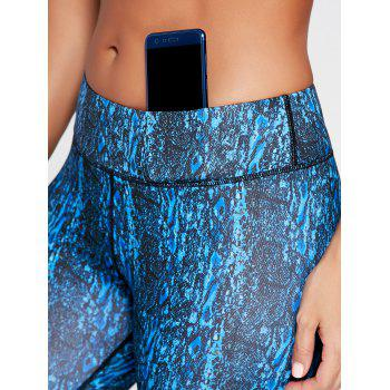 Abstract Printed Workout Shorts - BLUE L