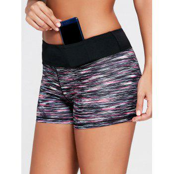 Colorful Marled Tight Sports Shorts - BLACK S