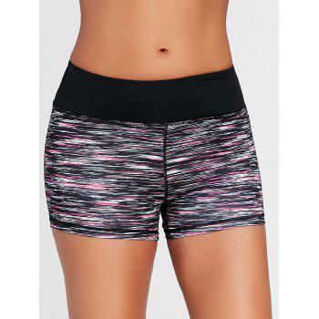 Colorful Marled Tight Sports Shorts - BLACK BLACK