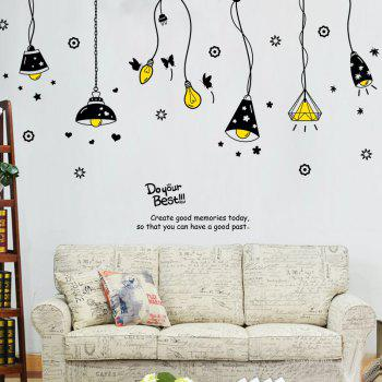 Cartoon Ceiling Lamp Pattern Wall Art Stickers - BLACK BLACK