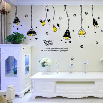 Cartoon Ceiling Lamp Pattern Wall Art Stickers -  BLACK