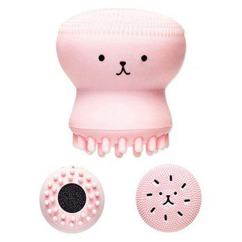 Double Head Silicone Octopus Face Cleansing Brush - PINK PINK