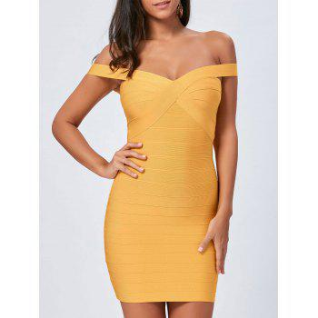 Off The Shoulder Night Out Bandage Dress - YELLOW YELLOW