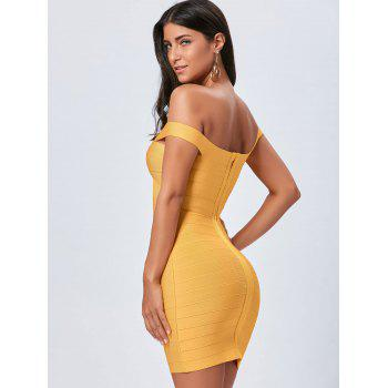 Off The Shoulder Night Out Bandage Dress - YELLOW L