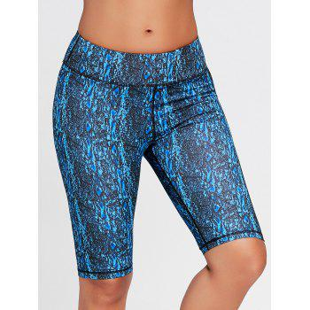 Abstract Printed Workout Shorts - BLUE S