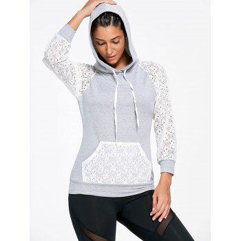 Sports Lace Sleeve Panel Hoodie with Pocket