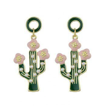 Faux Pearl Cactus Pendant Earrings