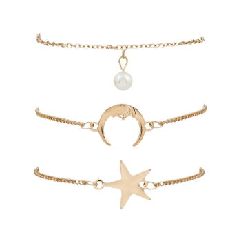 3 Pieces Star Moon Bracelets - Or
