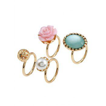 4 Pieces Faux Gem Rose Rings