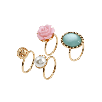 4 Pieces Faux Gem Rose Rings - Or