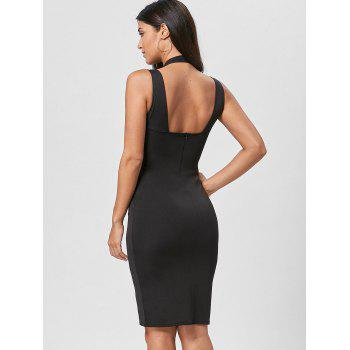 Plunging Neck Open Back Dress - M M