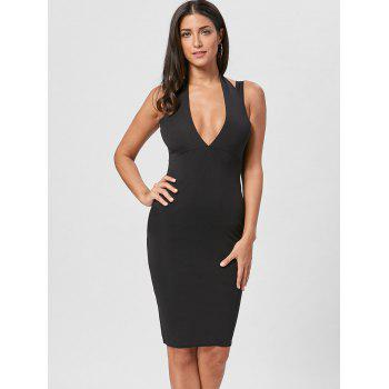 Plunging Neck Open Back Dress - BLACK BLACK