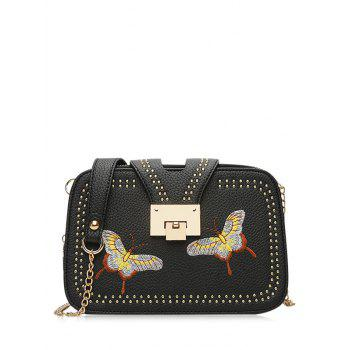 Embroidery Chain Studded Crossbody Bag