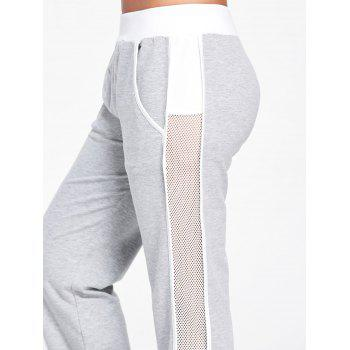 Openwork Insert Ankle Banded Pants - LIGHT GRAY LIGHT GRAY