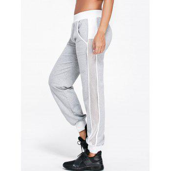 Openwork Insert Ankle Banded Pants - LIGHT GRAY XL
