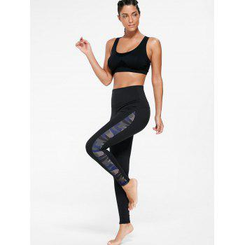 Camouflage Insert Skinny Gym Leggings - BLACK BLACK
