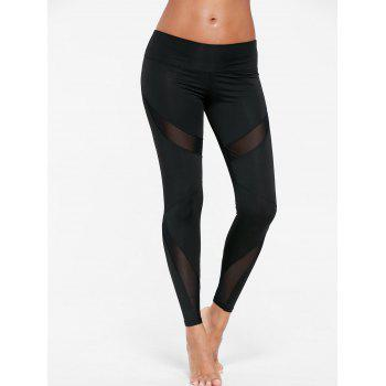 Mesh Insert Skinny Gym Leggings - BLACK BLACK