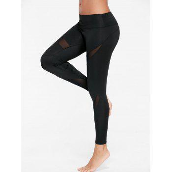 Mesh Insert Skinny Gym Leggings - BLACK S